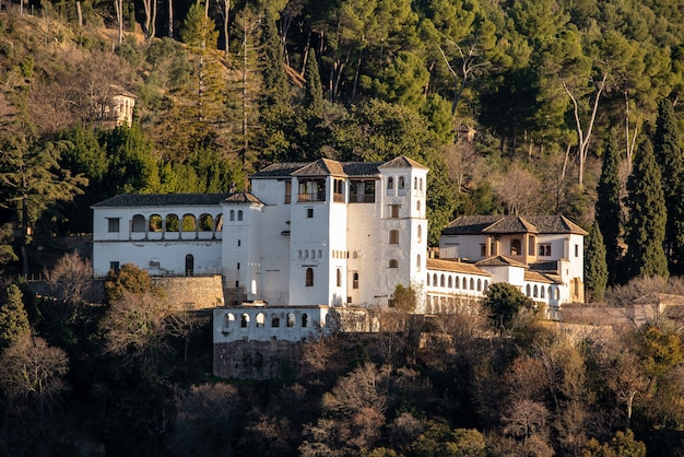 View of the arabic palace generalife at the evening in granada, spain