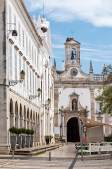 View of the arcs and main entrance to the old town in the garden manuel bivar, located in faro, portugal.