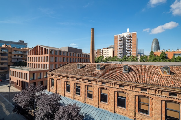 A view of area of poblenou, old industrial district converted into new modern neighbourhood in barcelona, spain