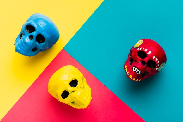 Above view arrangement with coloured skulls
