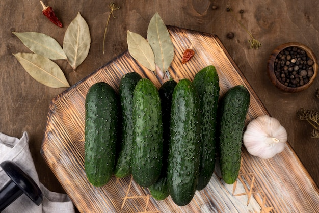 Above view arrangement with cucumbers