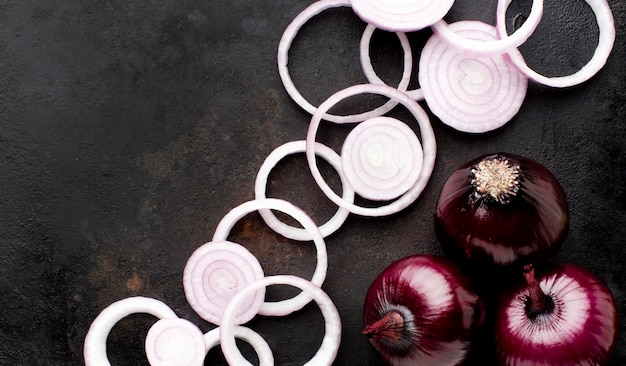 Above view arrangement with red onion