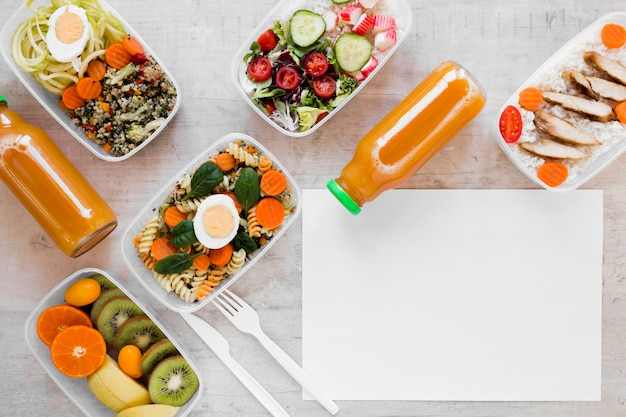 Above view assortment healthy meal