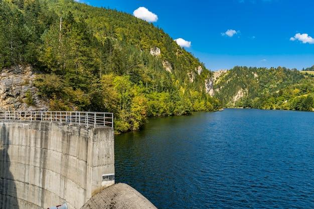 セルビアのzaovine湖のダムでの眺め