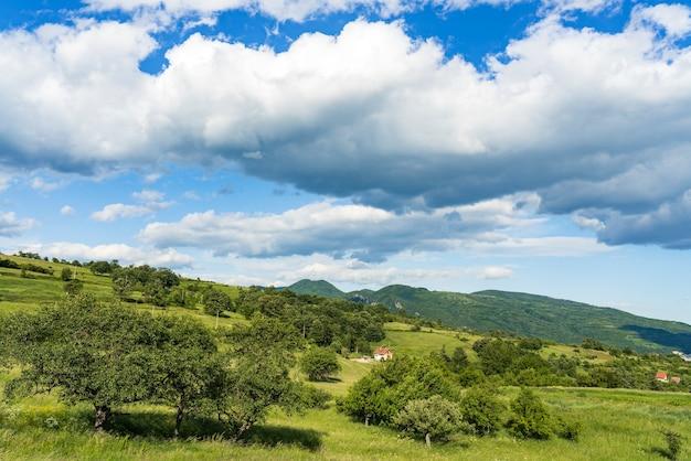 セルビアのドナウ川沿いのgreben丘での眺め