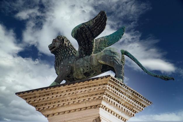 베니스, 이탈리아의 산 마르코 광장에서 베니스의 사자에서보기