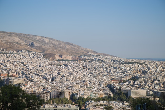 View of athens city with mount lycabettus, greece
