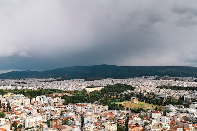 View of athens from the height of the acropolis.