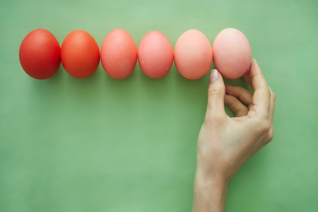 Above view background female hand arranging composition of painted easter eggs in row gradient from red to pastel pink, copy space