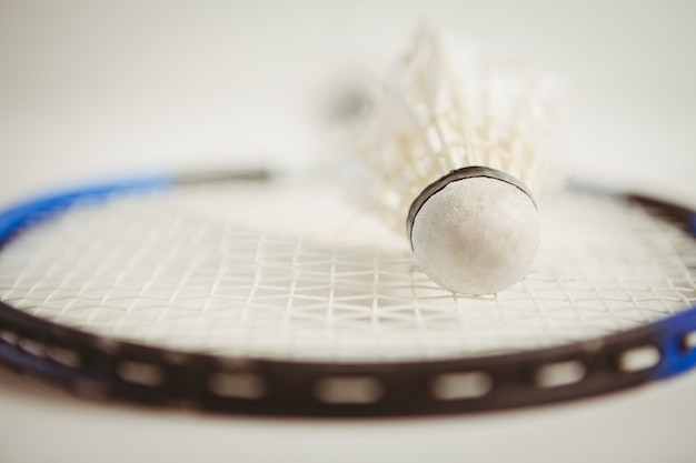 View of badminton racket and shuttlecock