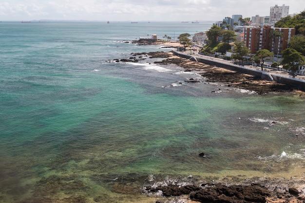 View of barra beach in the city of salvador bahia brazil.