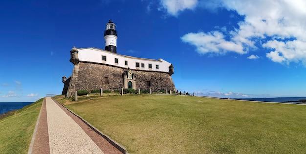 View of barra lighthouse famous postcard of salvador city, bahia, brazil..