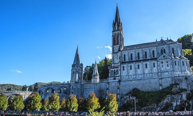 View of the basilica of lourdes city, france
