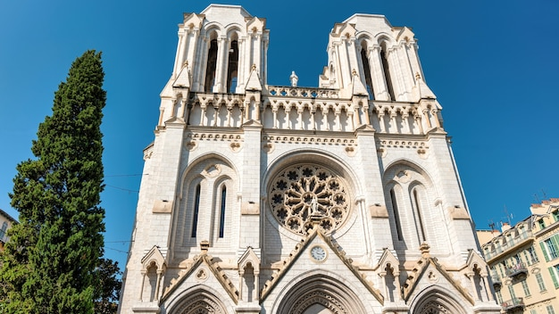 View of basilica of notre-dame in nice, france