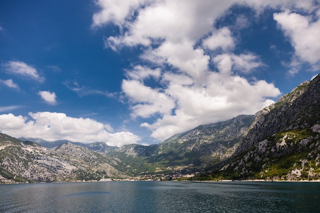 View on bay of kotor, montenegro. summer, nice clouds