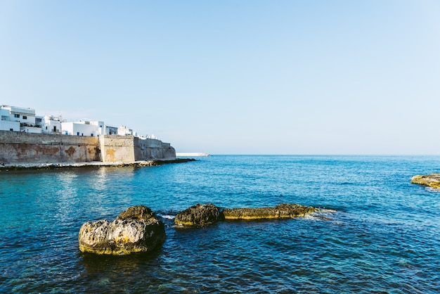 View of the bay of the tourist italian village of monopoli, with bastione di babula.