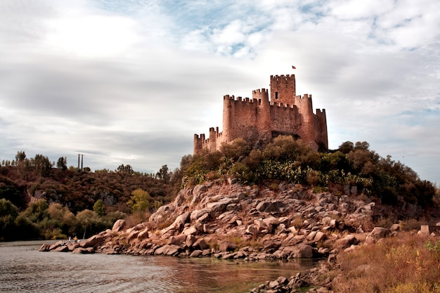 View of the beautiful almourol castle located on the tagus river on portugal.