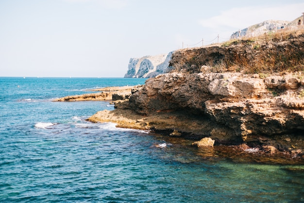 View of the beautiful blue mediterranean sea and cliffs of spain