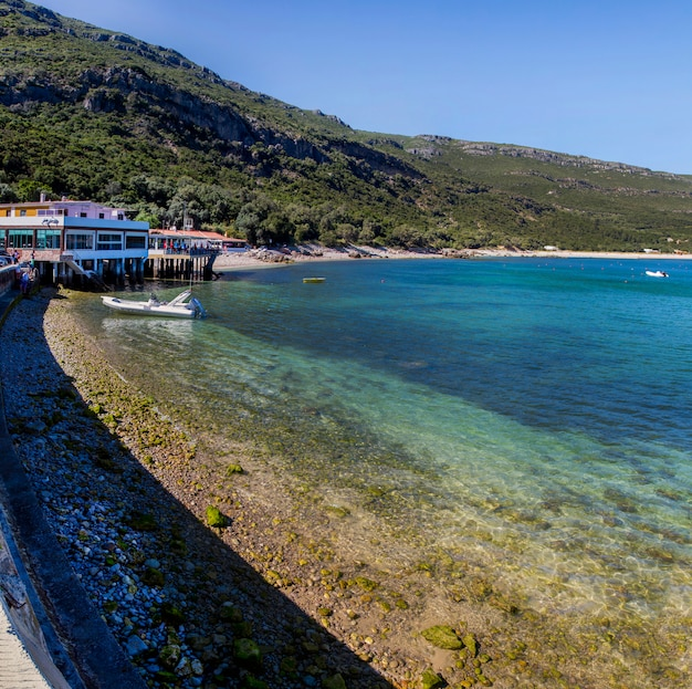 View of the beautiful coastal landscapes of the arrabida region located on setubal, portugal.