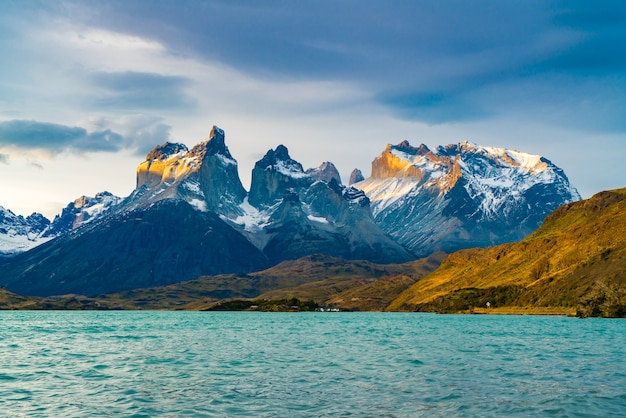 View of beautiful cuernos del paine mountains and lake pehoe