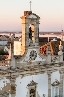 View of the beautiful historical entry to the old town, located in faro, portugal.
