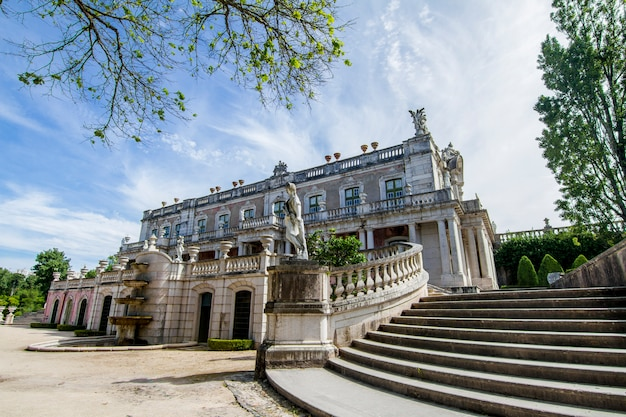View of the the beautiful national palace of queluz, located in sintra, portugal.
