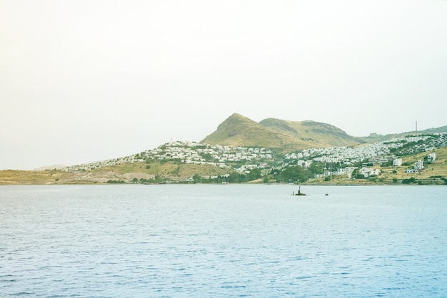 View on the beautiful sea, sity and the mountains at turgutreis bodrum
