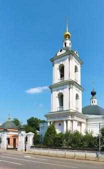 View of the bell tower of the church of st. nicholas the wonderworker in pokrovskoye, 1765-1766, landmark