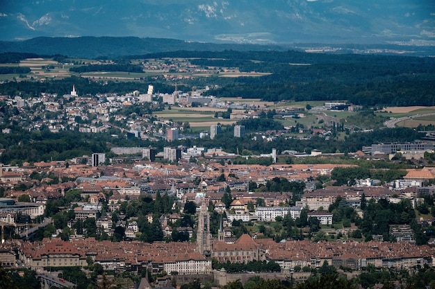 View of bern, from the main viewing city in the mountains. a popular place for walking and jogging