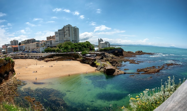 View of biarritz city by the atlantic ocean, france