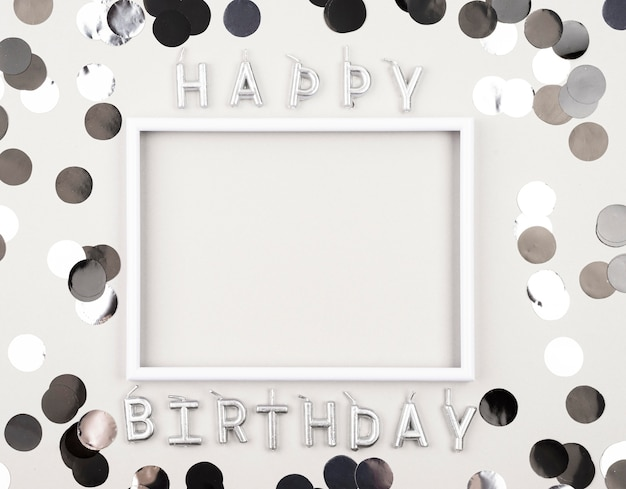 Above view birthday decorations with frame