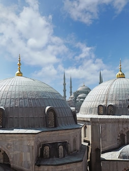 View of the blue mosque through cupolas domes