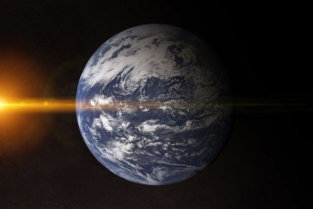 View of blue planet earth atlantic ocean in space with her atmosphere 3d rendering elements