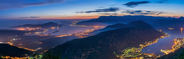 A view of the boka bay of kotor at night from mount lovcen.