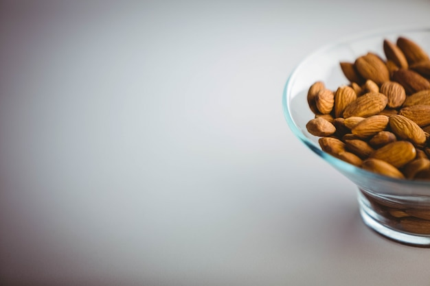 View of a bowl of almond on a table