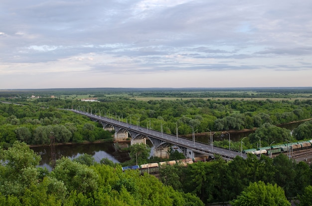 View of the bridge over the klyazma river and the railway in vladimir
