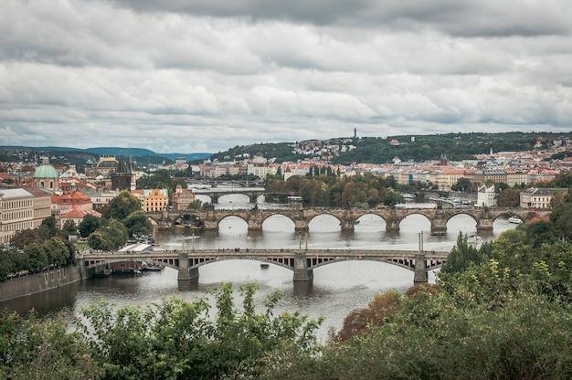 View of the bridges of old prague