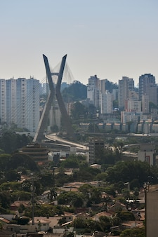 View of the brooklin neighborhood in sao paulo with the cablestayed bridge in the background