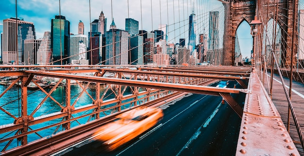 View of brooklyn bridge in new york city.
