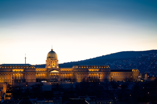 View of buda castle on the side of bude at night. budapest, hungary. blue hour photo