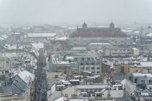 View over budapest with roof of hungarian state opera