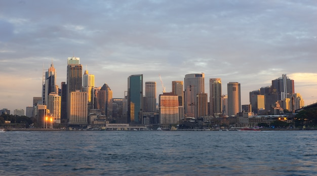 View of buildings in city of sydney during sunset time