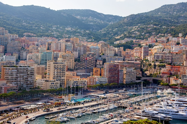 View of the buildings of monaco from the mountain