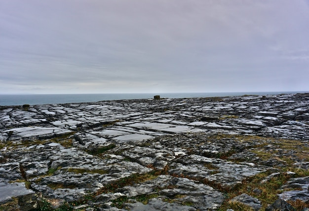 View of the burren national park. scenic tourism landscape, unesco world heritage site and global geopark.