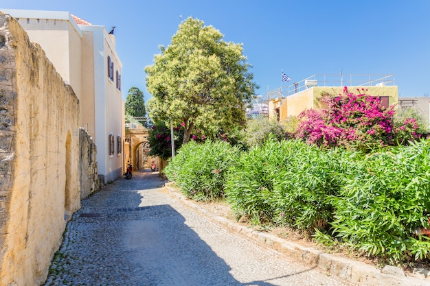 View of calm street in rhodes town. greece