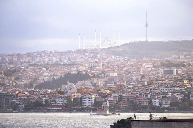 View of camlica mosque located on a hill with residential buildings, bosphorus strait and leander's tower, istanbul, turkey