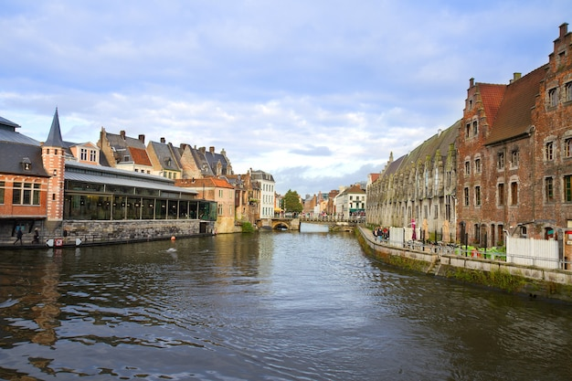 View of canal and old buildings, ghent, belgium