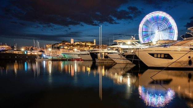 View of cannes at night, france