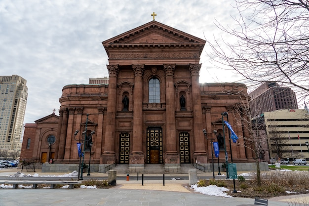 View of cathedral basilica of saints peter and paul at logan square in philadelphia