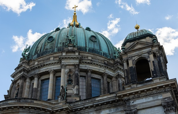 View of the cathedral from the river spree, berliner dom in berlin, germany